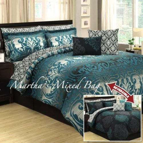Black And Teal Bedding Sanders Loft Piece Queen Comforter - Black and teal comforter sets