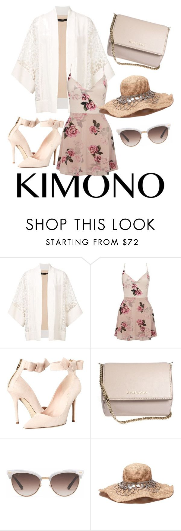"""kimono beauty"" by sillysister11 ❤ liked on Polyvore featuring Elie Saab, Lipsy, Kate Spade, Givenchy, Gucci and kimonos"