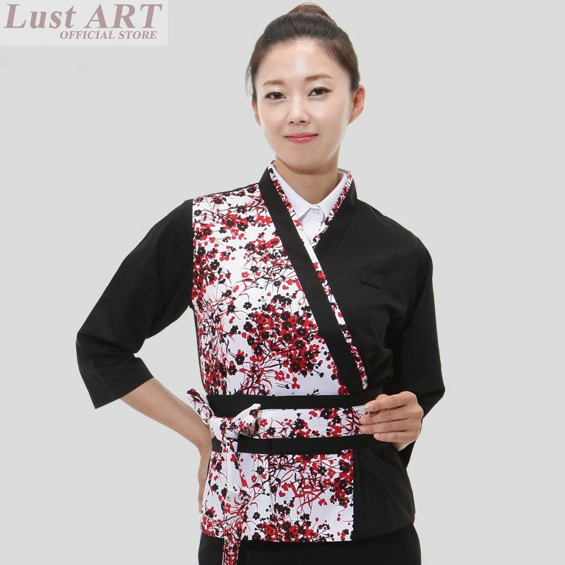 4e2ddc66d79 Food Service japanese restaurant uniforms restaurant waitress uniforms  women ladies waitress uniform japanese chef jacket B044
