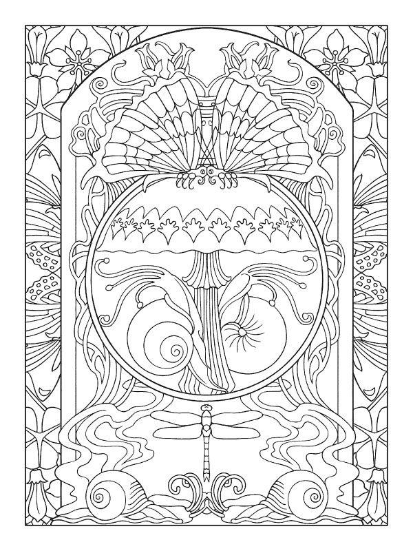 art nouveau animal designs coloring book zentangle printable colouring pages - Art Nouveau Unicorn Coloring Pages