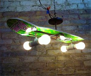 Bring a little urban decorum into your humble abode with the skateboard  deck lamp. Featuring