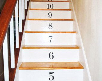 Number Stair Wall Decals   Set Of 17 Vinyl Decals With 45 Color Options   Count