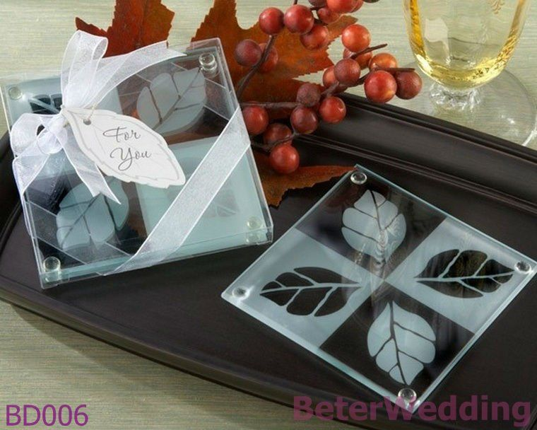 DHL Free Shipping 240pcs 120set Fall In Love Frosted Leaf Design Glass Coasters Wedding Favor BD006