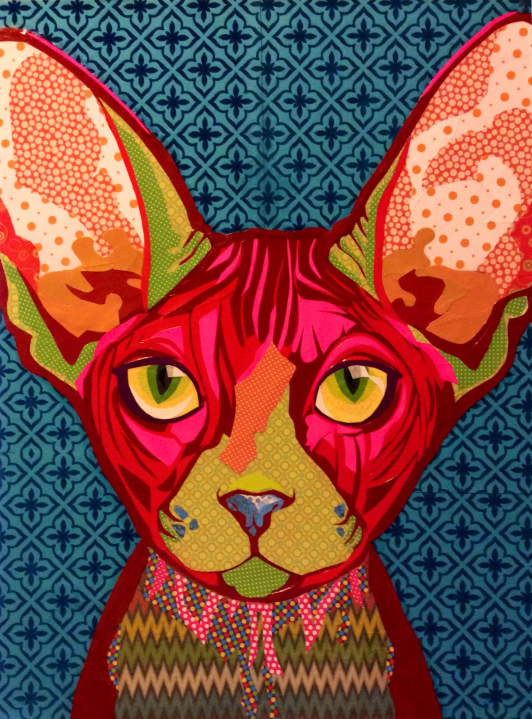 Scrapbook paper collage - Scrapbook paper collage art collage art pink sphynx by laura yager