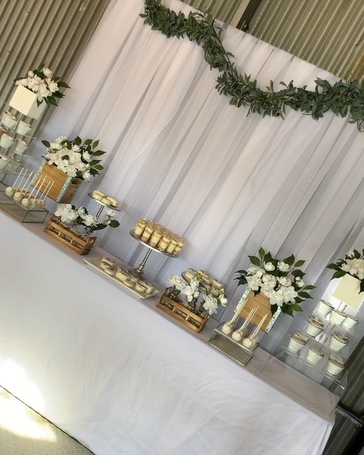 Greenery themed dessert table and backdrop set up -   17 desserts Table baby shower ideas