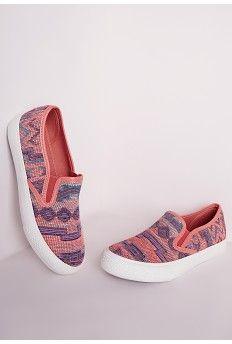 Textured Slip On Skater Pumps Coral Aztec