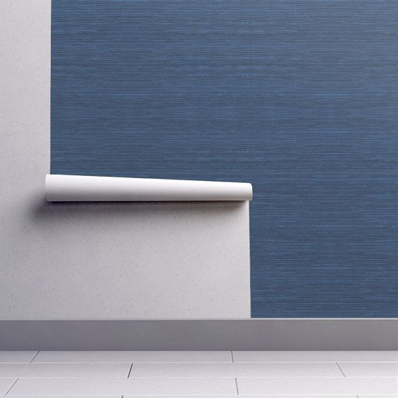 Blue Texture Print Wallpaper Faux Grasscloth Print In Navy Etsy Grasscloth Wallpaper Blue Texture Grasscloth