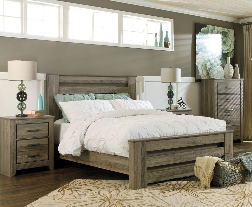 Juararo Bedroom Furniture Zelen Rustic Grey Bed