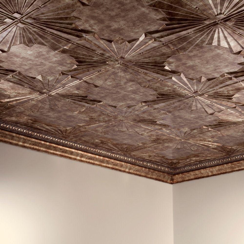 Fasade Art Deco Bermuda Bronze 2 Ft X 4 Ft Glue Up