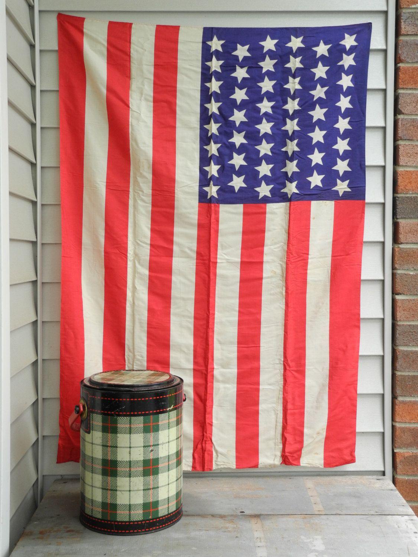 Vintage silk American Flag, USA Flag, 48 star flag, old glory ...