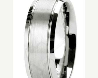 ON SALE Mens 14K White Gold Wedding Bands Matching Wedding Rings