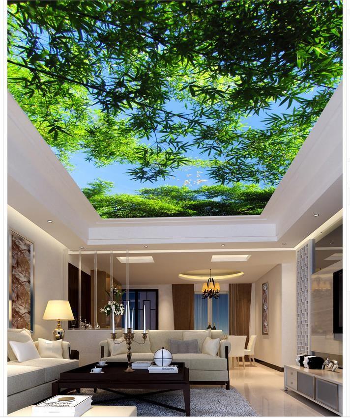 bambou plafond salon chambre plafond foret paysage peintures murales de papier