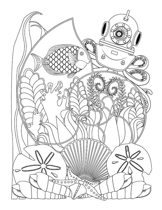 Great Ocean Plants Coloring Pages 52 Fantasy Nautilus Shell with