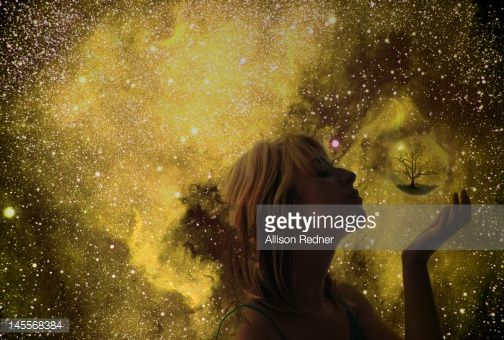Stock Photo : Girl in space