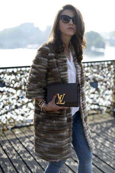 bd4e6cfde2e4 sweater coat + white + denim + clutch Lv Handbags