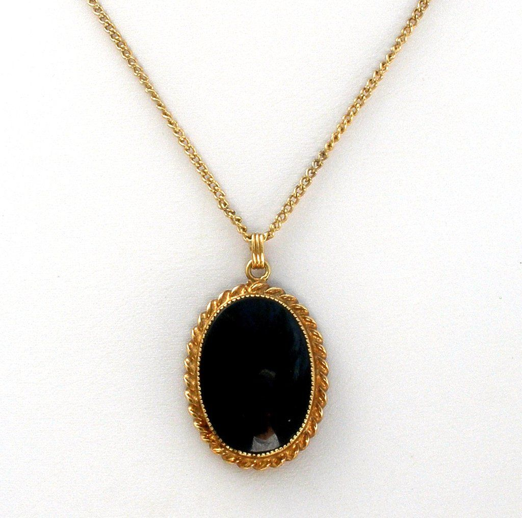 Catamore black onyx gold filled pendant necklace antique vintage catamore black onyx gold filled pendant necklace aloadofball Images