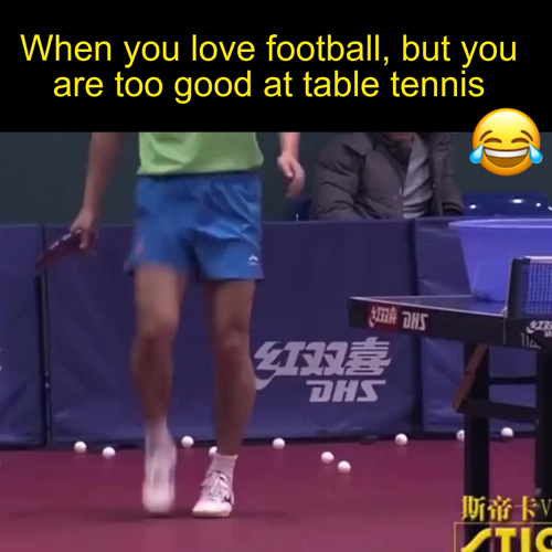 Photo of Zhang Jike is also good at football.    EmRatThich Table Te…