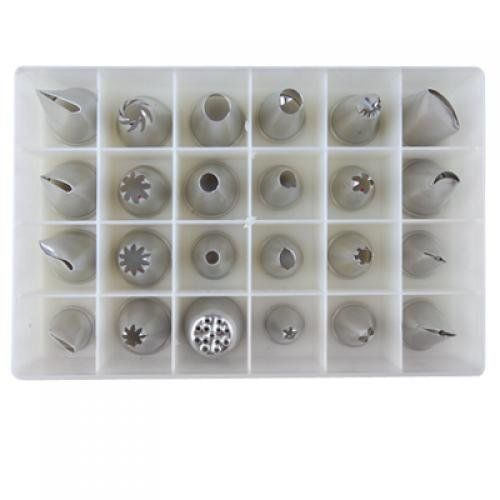 24 Icing Nozzles Pastry Tips Cakes Decorating with Box - Worldwide by QLPD. $32.88. Create your own beautiful cakes and cookies with this set of 24 icing nozzles.Let your imagination run wild with this icing nozzles to decorate your cakes and cookies.Description:Brand new and high qulity24 different icing nozzlesWith Clear plastic storage boxMade of stainless steelCreate swirls, rosettes, flowers, roping, stars, leaves and other designs with this 24 icing nozzlesBox Dimensi...