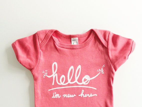 Hello I'm New Here  Funny text baby gift 612 mo  coral door eggagogo, $18.00