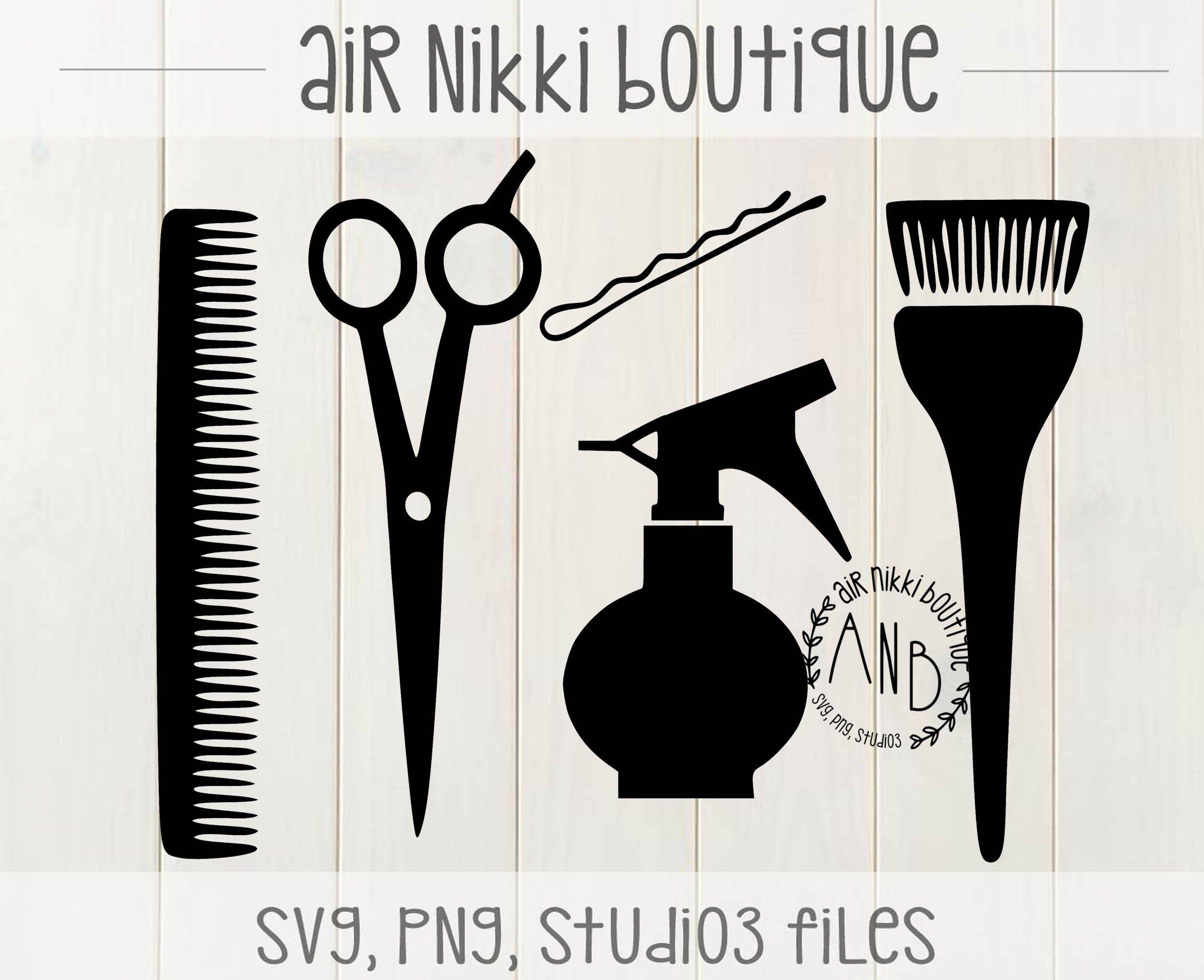 Hair Dresser Comb Scissors Bobby Pin Spray Bottle Dye Brush Svg Png Studio3 Files 300 Dpi Instant Download B Hair Dresser Bobby Pins Hair Salon Tools
