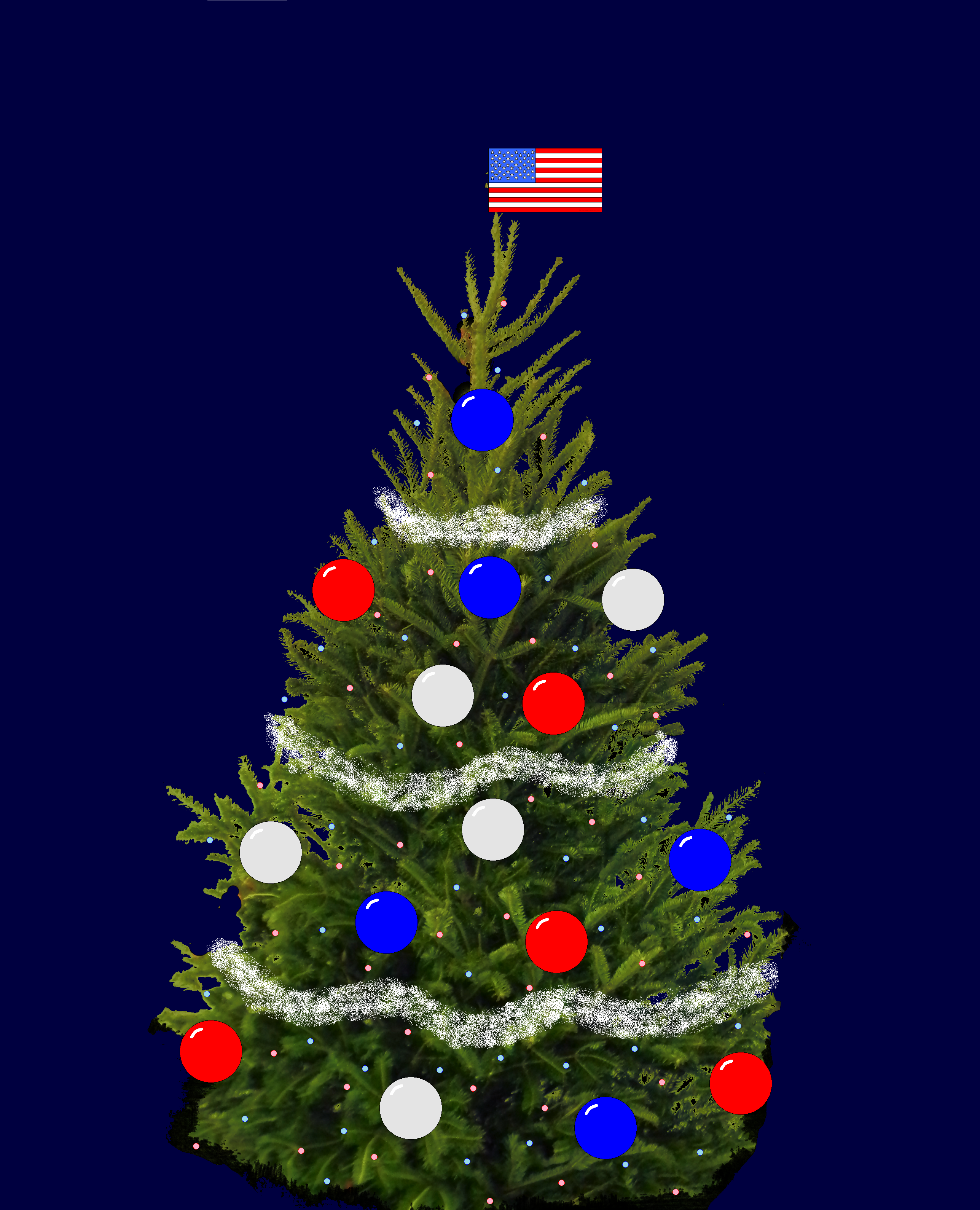 The American Flag Style For This Tree With Red White And Blue Lights And Ornaments With A Flag As A Topper American Flag Fashion Christmas Tree Tree