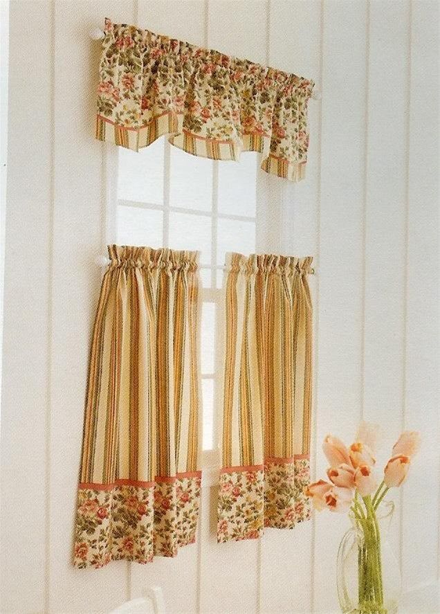 Nice Decor And More   Vintage Floral Stripe Tiers Valance