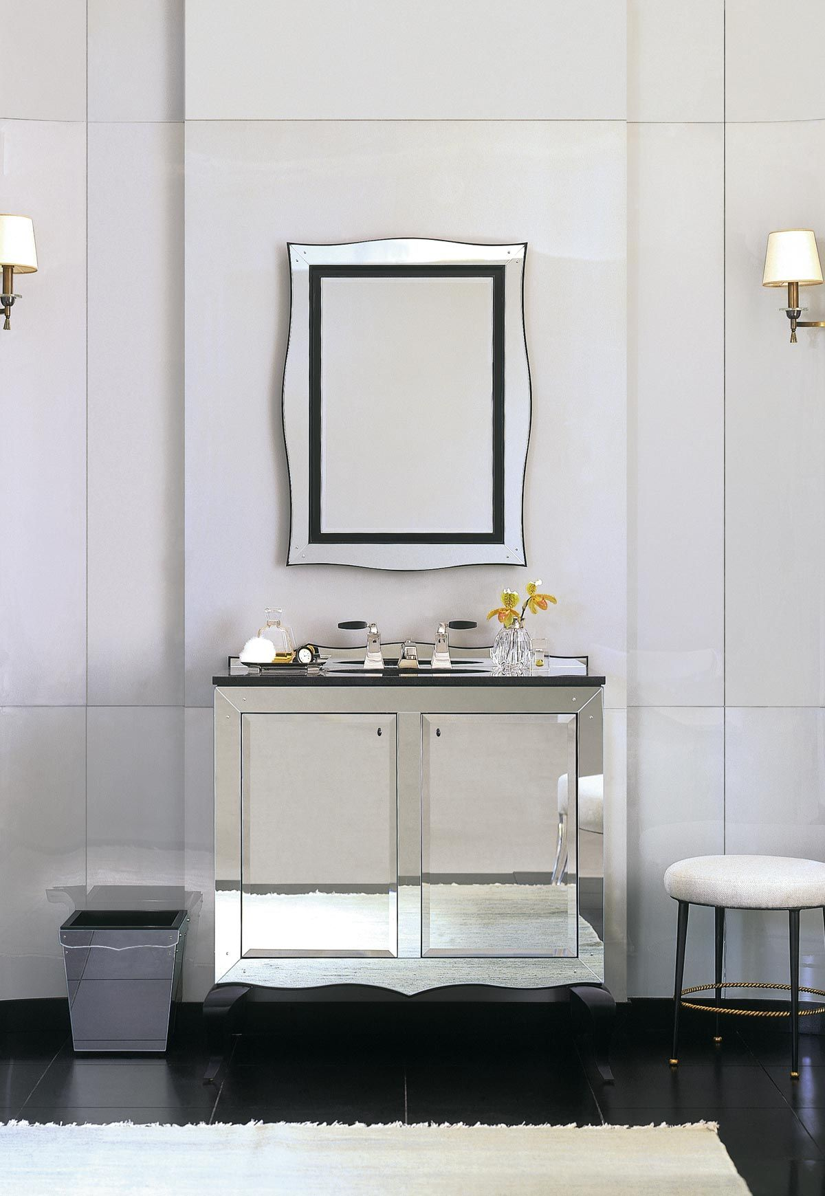 Glamour Bathroom By Barbara Barry Black White Mirrored Vanity