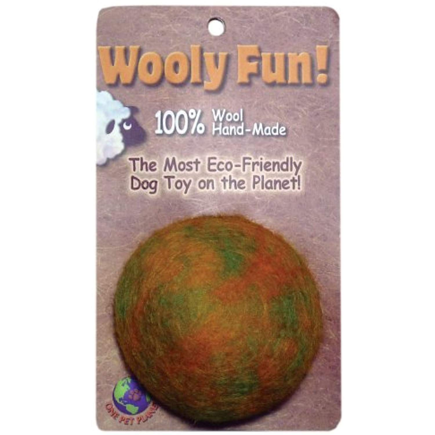 One Pet 86007 2.75Inch Wooly Fun Ball Dog Toy