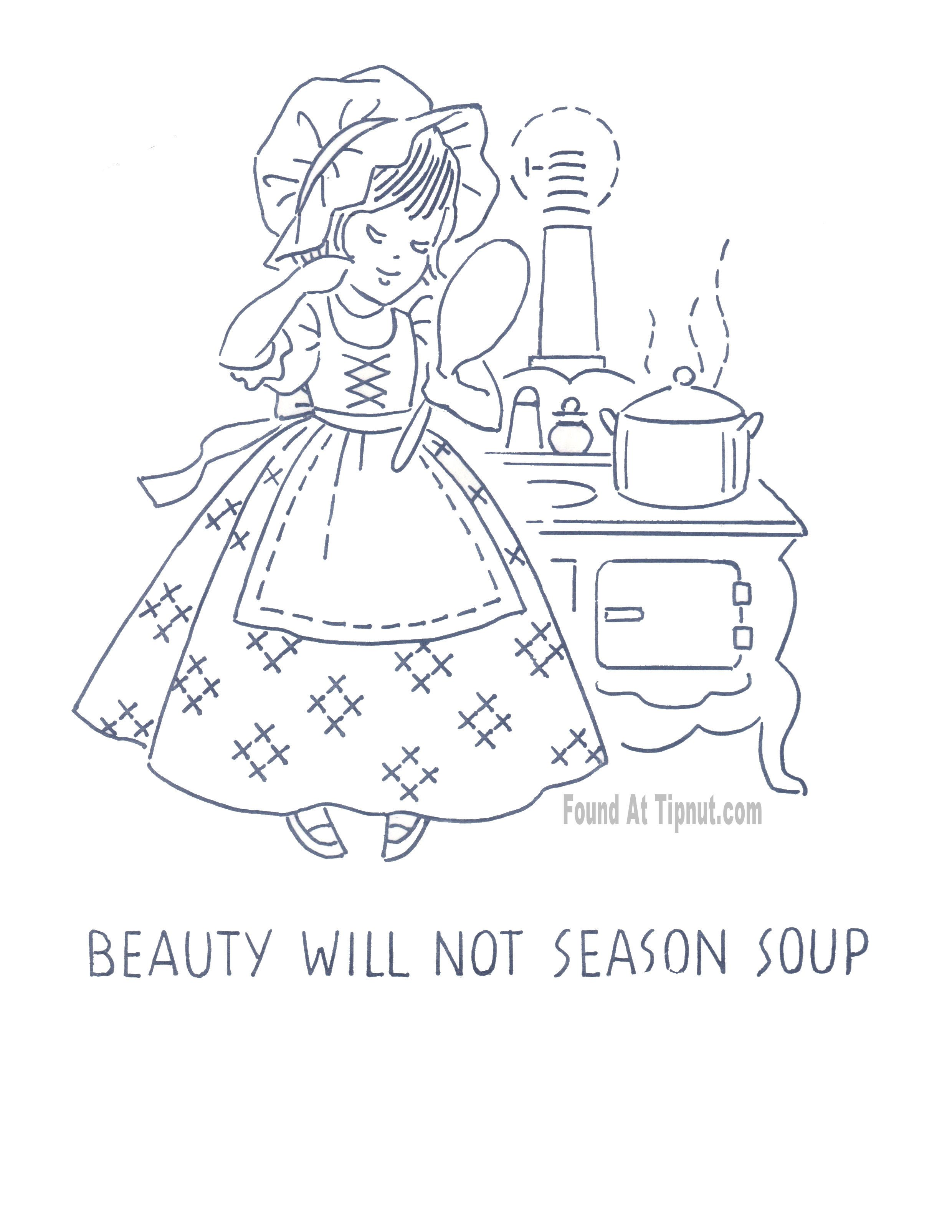 BEAUTY WILL NOT SEASON SOUP - Kitchen Proverbs Embroidery Pattern ...