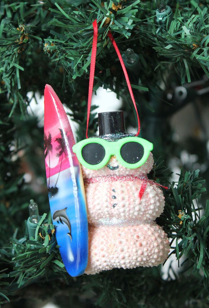 Surfer Pink Urchin Snowman Ornament Beach christmas