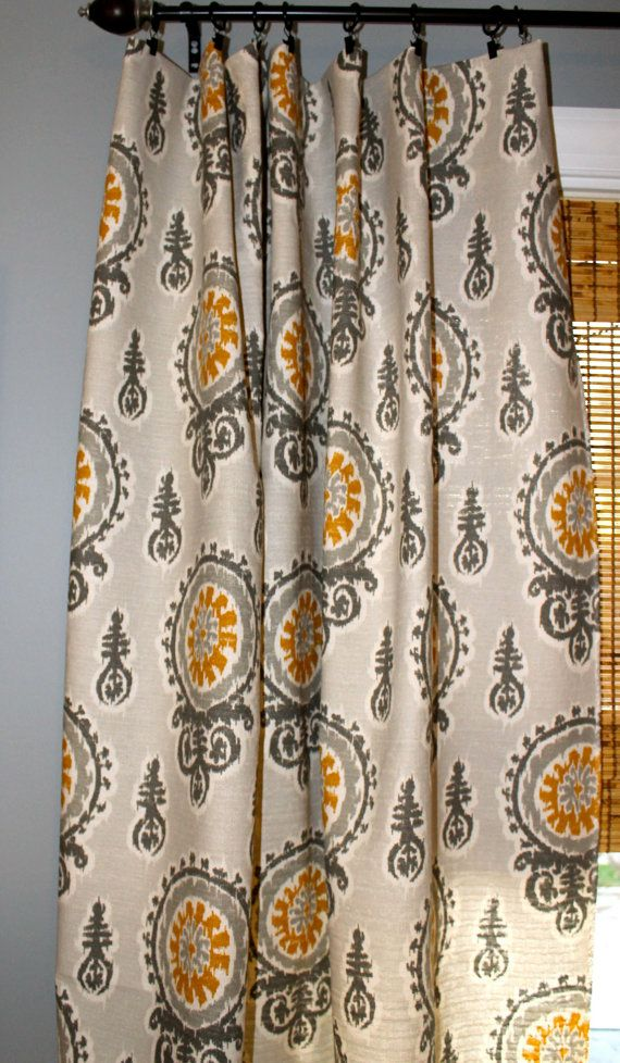 Grey Gold And Ivory Ikat Curtain Panel Custom Drapery In