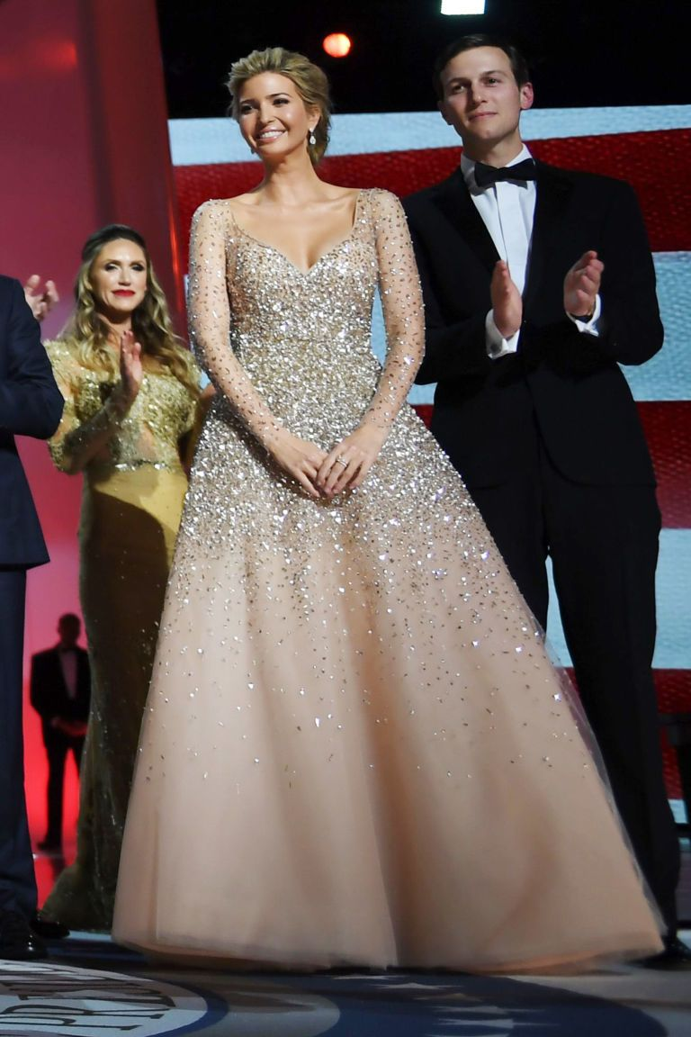 Ivanka Trump Wears A Champagne Carolina Herrera Gown To The Inaugural