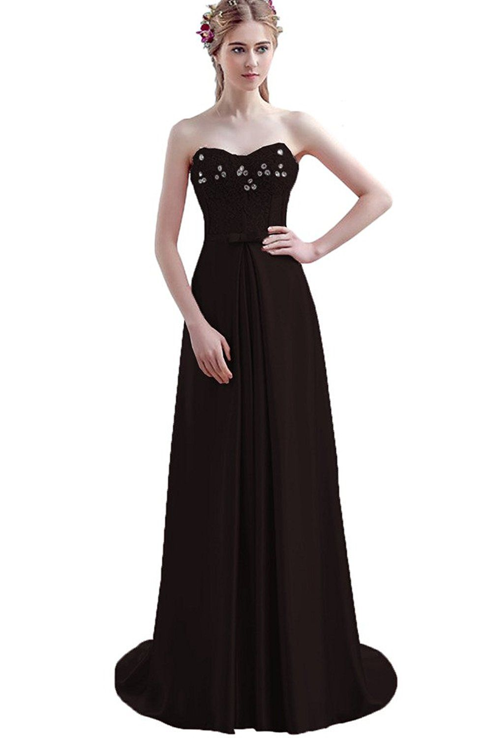 Besswedding wedding long black maxi lace party evening dresses for