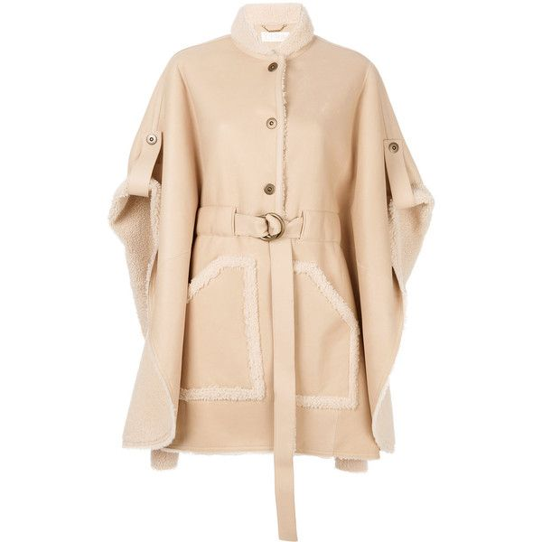 Chloé belted shearling leather cape (€5.515) ❤ liked on Polyvore ...