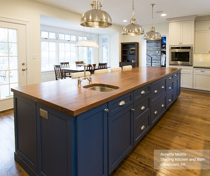 Off White Cabinets with a Blue Kitchen Island - Omega | . a . room ...