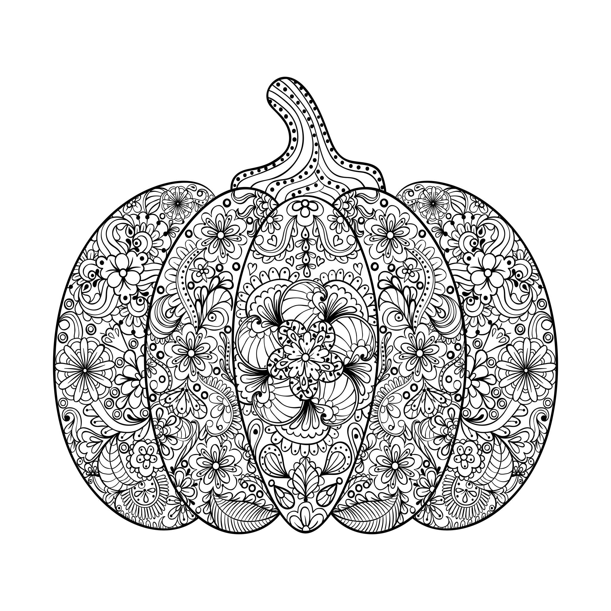 Magnificent Halloween Pumpkin Filled With Flowered Patterns From