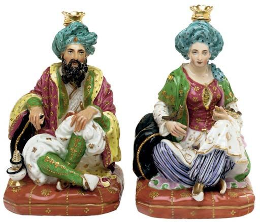 JACOB PETIT STYLE PORCELAIN SCENT-BOTTLES AND TWO STOPPERS