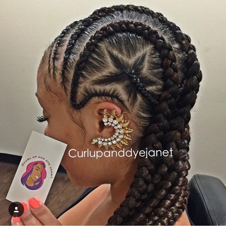 Goddess braids with star | Hair styles, Natural hair styles ...