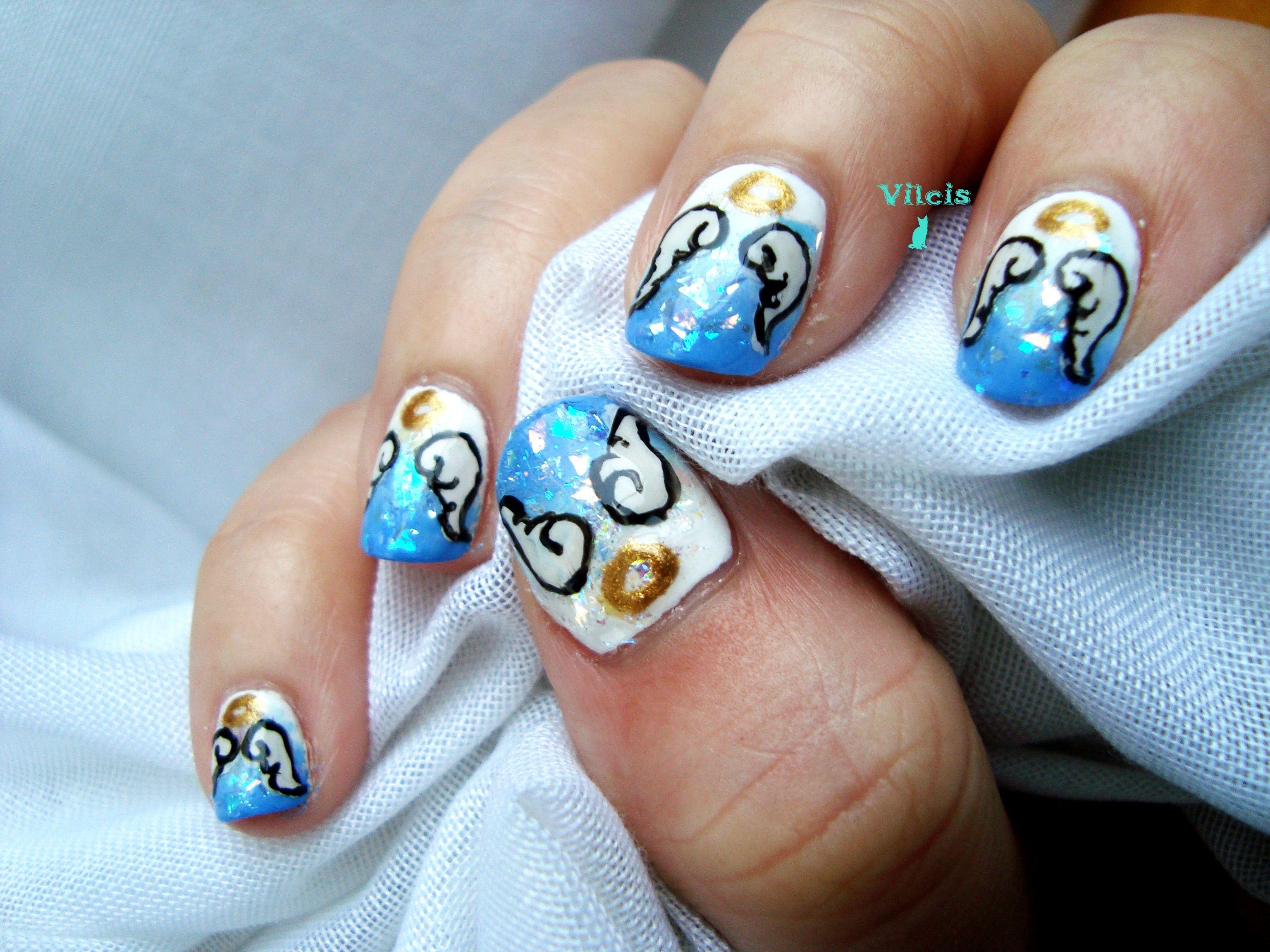 Diseño de uñas inspirado en lo sobrenatural: alas de ángel ...