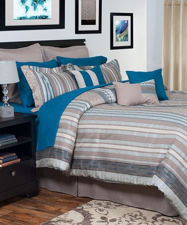 Blue & Gray Riley 13-Piece Oversize Comforter Set #zulily #zulilyfinds