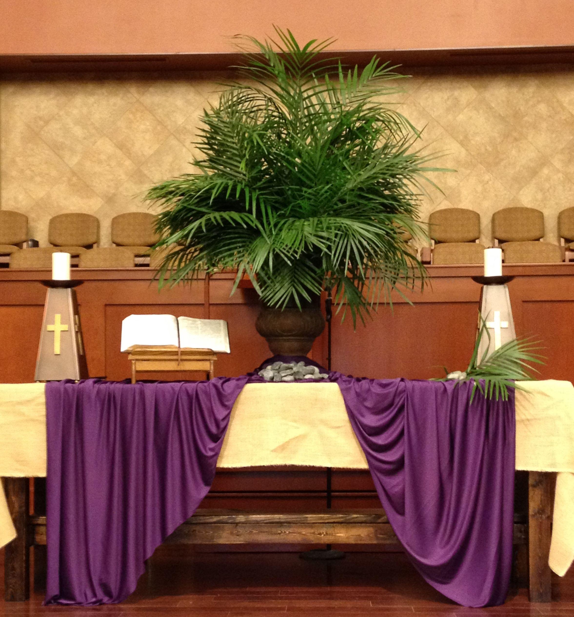 Church Altar Wedding Decorations: GAUMC Sanctuary Palm Sunday Altar 2014