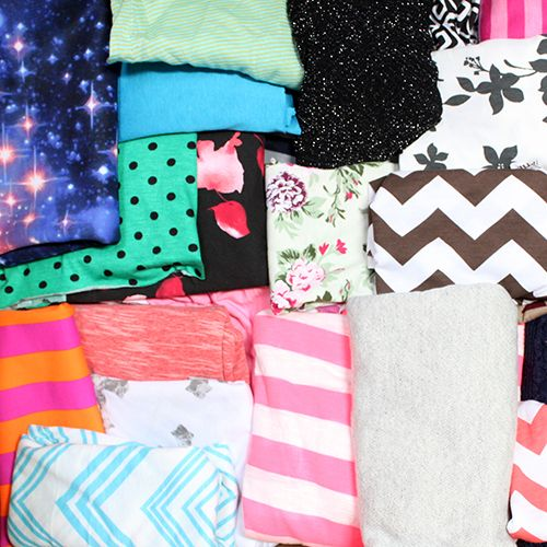 HUGE Flawed Small Pieces Mix Cotton Knit Fabric Bargain Lot - A 12X12X18 box containing a mix of different prints of cotton jersey, spandex, and other knits that are cut from rolls during order fulfillment process.  These may contain holes or seams, some pieces measure just under 1/4 yard up to 1/2 yard of usable fabric. Total weight is 20 pounds.  Please note that fabric pictured is not the exact prints you will receive.  ::  $35.00