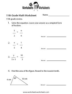 11th Grade Math Worksheets Free Printable Worksheets For Teachers And Kids Math Worksheets Printable Math Worksheets 11th Grade