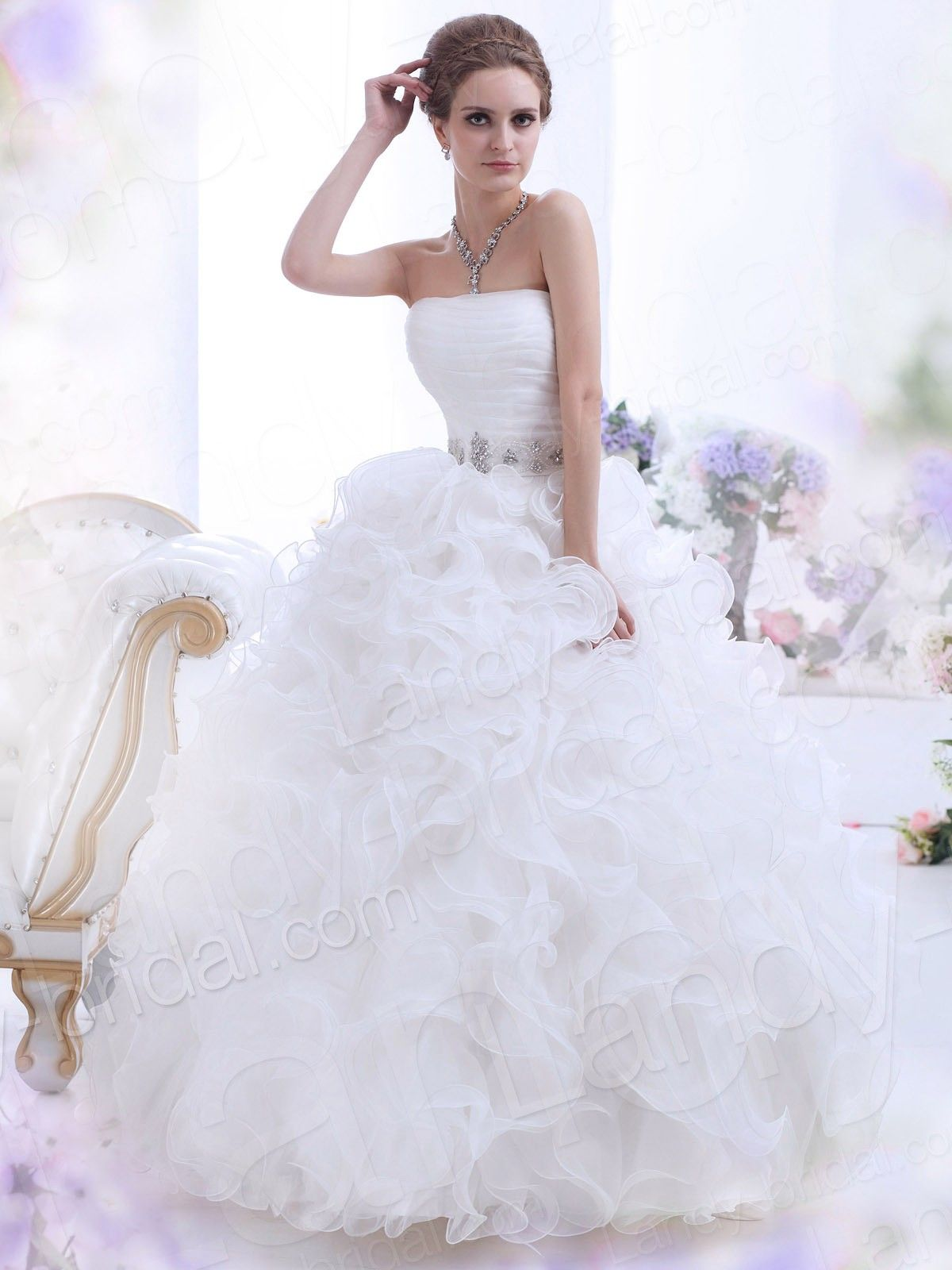 Fluffy wedding dresses  Ball Gown Strapless Floor Length Organza Ivory Wedding Dress B