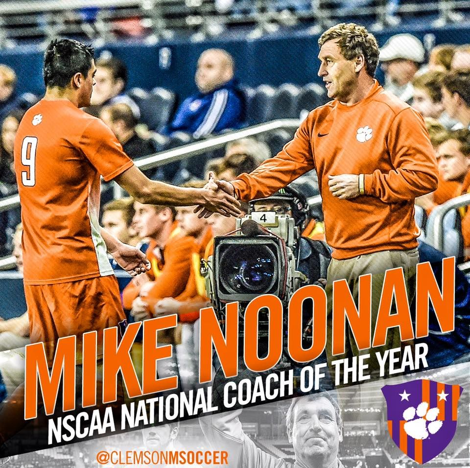 Mike Noonan S Clemson Tiger Soccer Camp Coach Of The Year Soccer Clemson Baseball