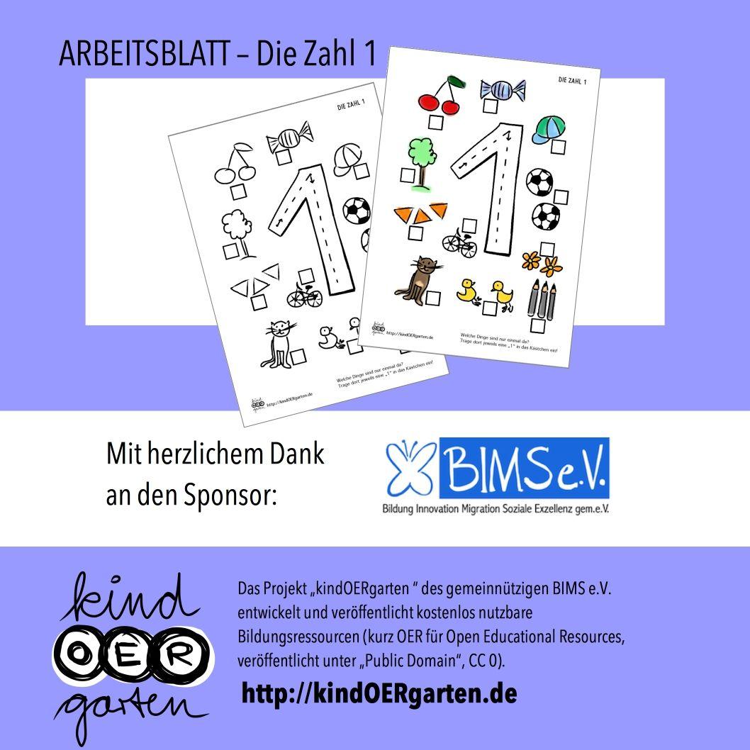 "Arbeitsblatt – Die Zahl ""1"""