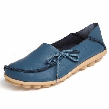 US Size 5-12 New Women Soft Comfortable Lace-Up Flat Loafers Breathable Casual L - US$18.12