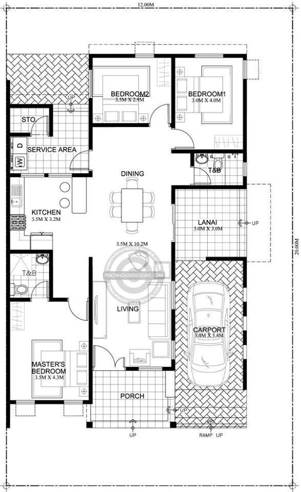 Home Design Plan 12x20m With 3 Bedrooms Home Ideas Bungalow Floor Plans One Storey House Home Design Floor Plans
