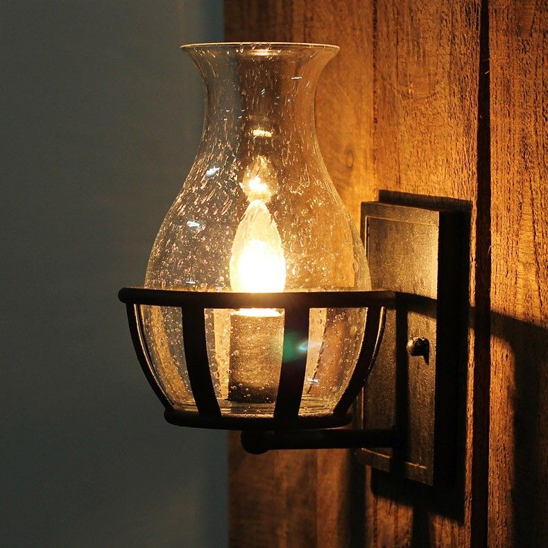 Retro Rustic Jar Shaped Seeded Glass Single Candelabra Light Bulb Wall Lamp Metal Backplate Candle Light Fixture Wall Lights Candelabra Light