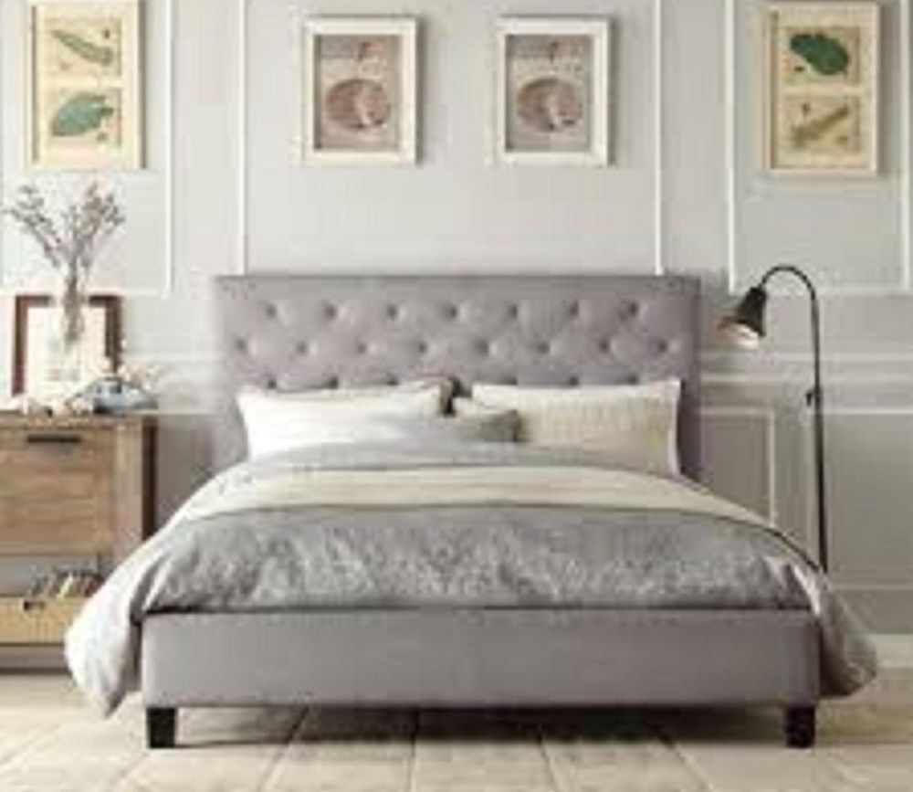Gray Button Tufted Upholstered Padded Queen Linen Headboard Platform Bed Frame -w/ brown wood furniture
